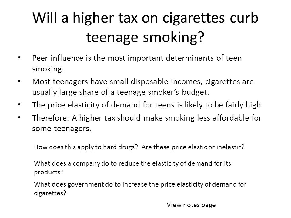 Will a higher tax on cigarettes curb teenage smoking.