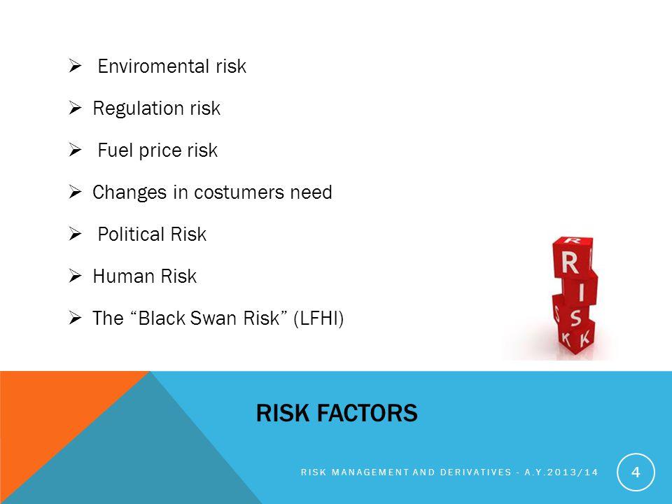 RISK FACTORS Enviromental risk Regulation risk Fuel price risk Changes in costumers need Political Risk Human Risk The Black Swan Risk (LFHI) RISK MANAGEMENT AND DERIVATIVES - A.Y.2013/14 4