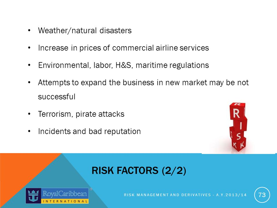 Weather/natural disasters Increase in prices of commercial airline services Environmental, labor, H&S, maritime regulations Attempts to expand the business in new market may be not successful Terrorism, pirate attacks Incidents and bad reputation RISK MANAGEMENT AND DERIVATIVES - A.Y.2013/14 73 RISK FACTORS (2/2)