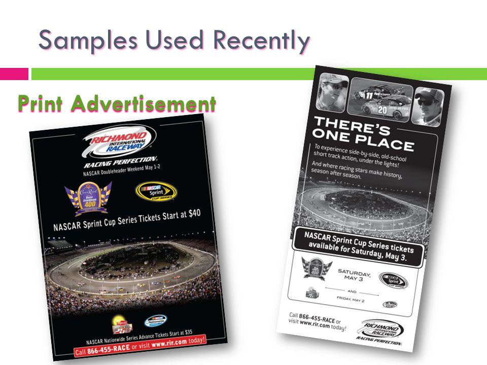 Samples Used Recently Print Advertisement