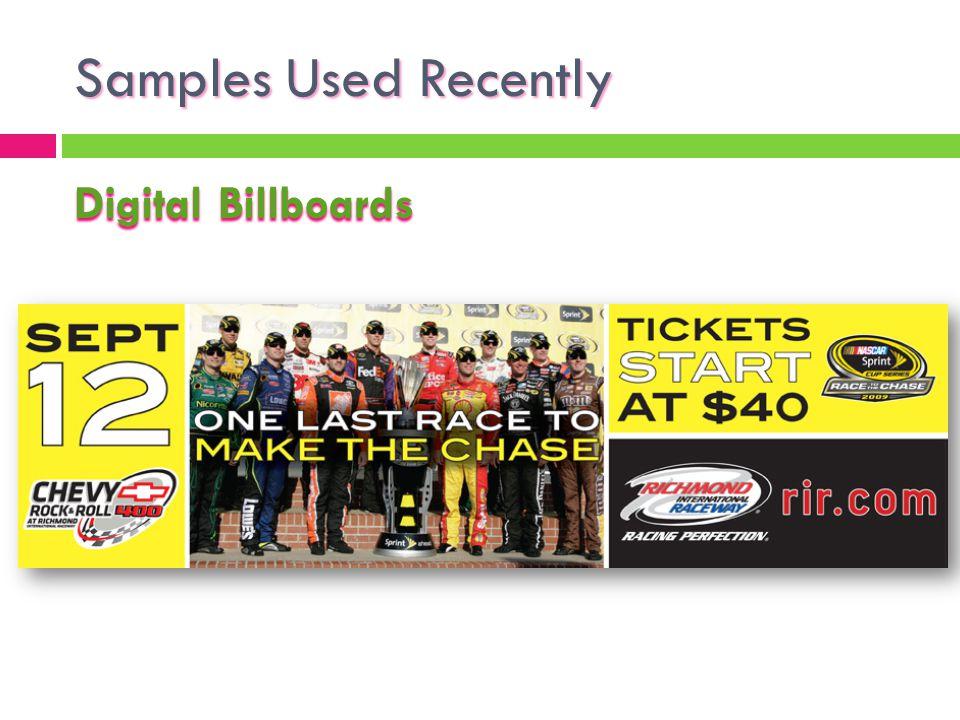Samples Used Recently Digital Billboards