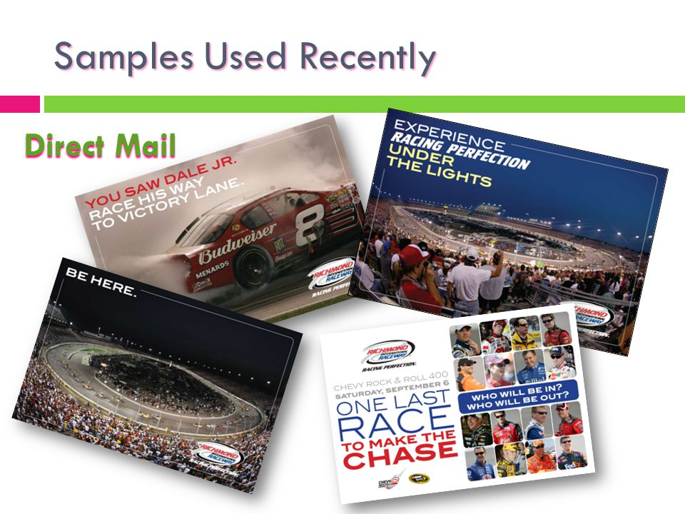 Samples Used Recently Direct Mail