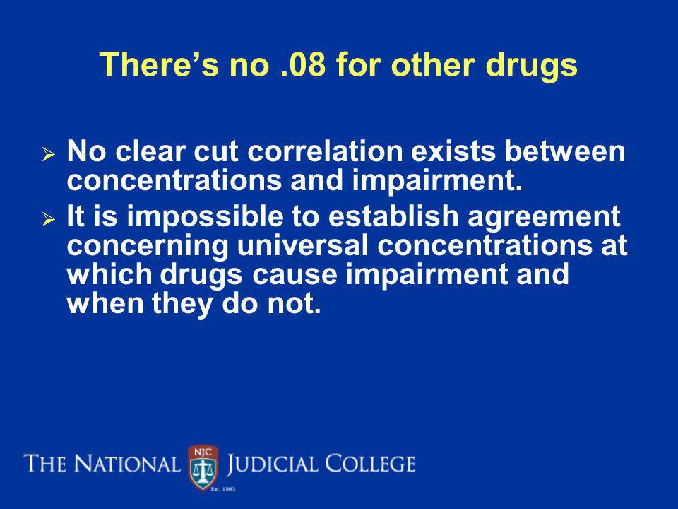 Theres no.08 for other drugs No clear cut correlation exists between concentrations and impairment.