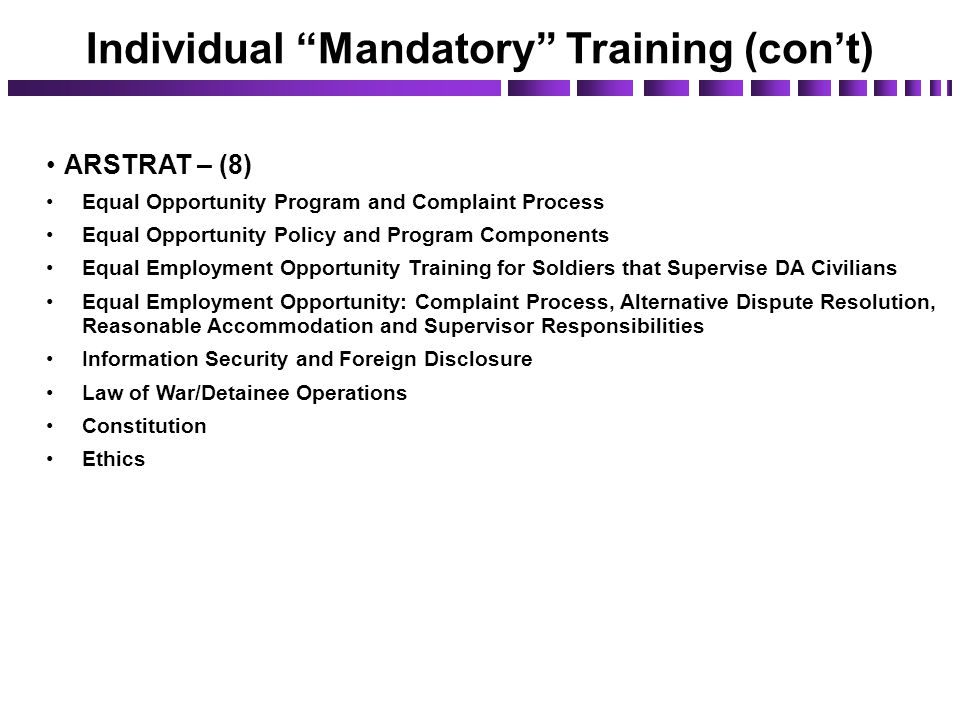 ARSTRAT – (8) Equal Opportunity Program and Complaint Process Equal Opportunity Policy and Program Components Equal Employment Opportunity Training fo