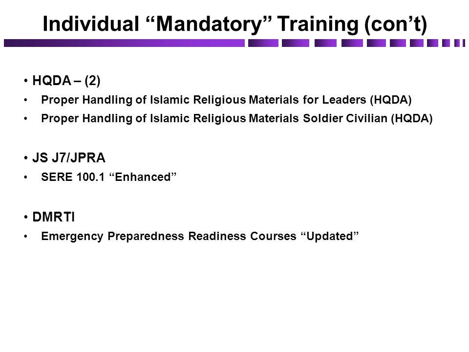 HQDA – (2) Proper Handling of Islamic Religious Materials for Leaders (HQDA) Proper Handling of Islamic Religious Materials Soldier Civilian (HQDA) JS