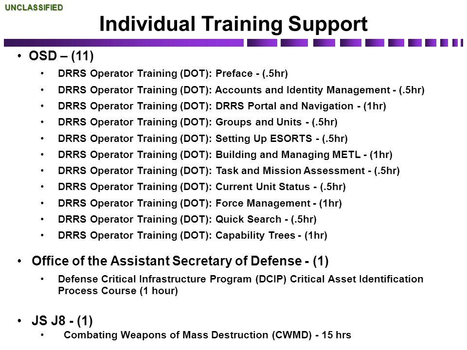 OSD – (11) DRRS Operator Training (DOT): Preface - (.5hr) DRRS Operator Training (DOT): Accounts and Identity Management - (.5hr) DRRS Operator Traini