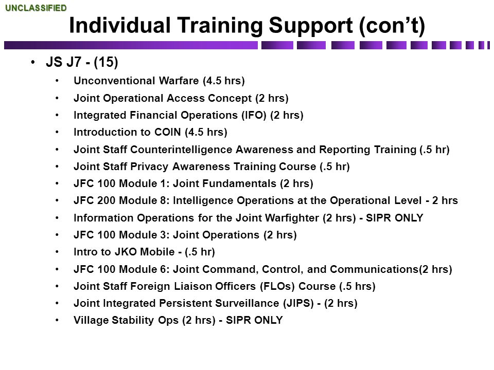JS J7 - (15) Unconventional Warfare (4.5 hrs) Joint Operational Access Concept (2 hrs) Integrated Financial Operations (IFO) (2 hrs) Introduction to C
