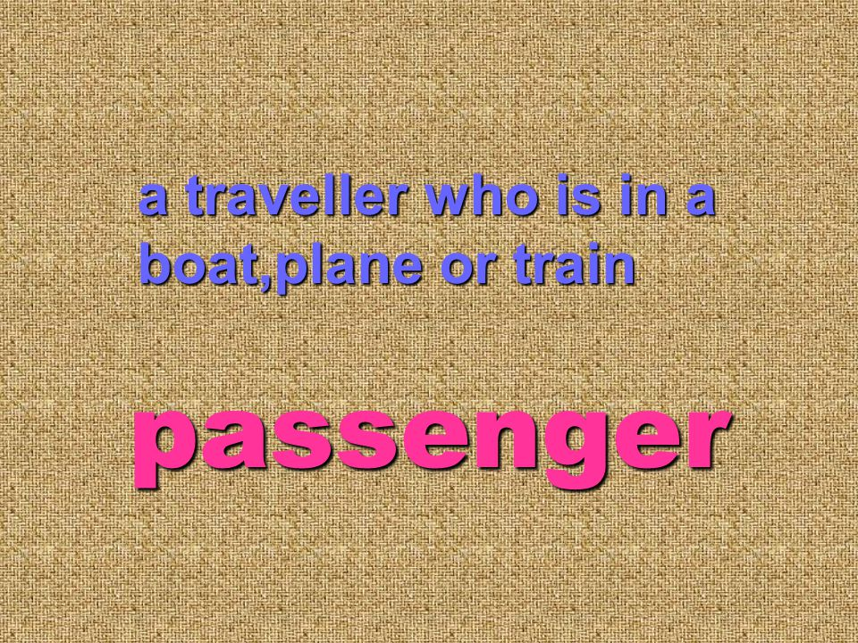 a traveller who is in a boat,plane or train passenger