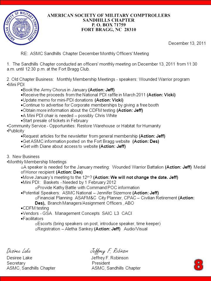 December 13, 2011 RE: ASMC Sandhills Chapter December Monthly Officers Meeting 1.