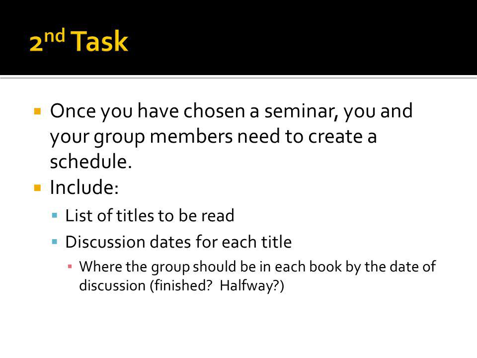 Once you have chosen a seminar, you and your group members need to create a schedule.