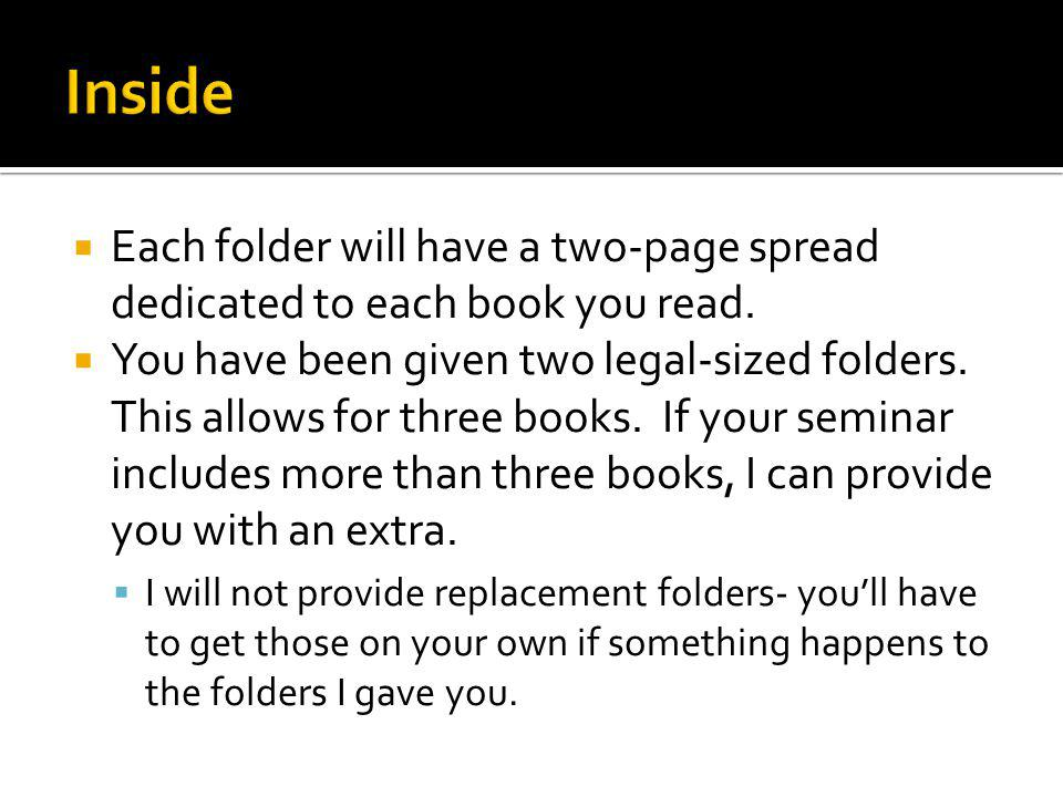 Each folder will have a two-page spread dedicated to each book you read.