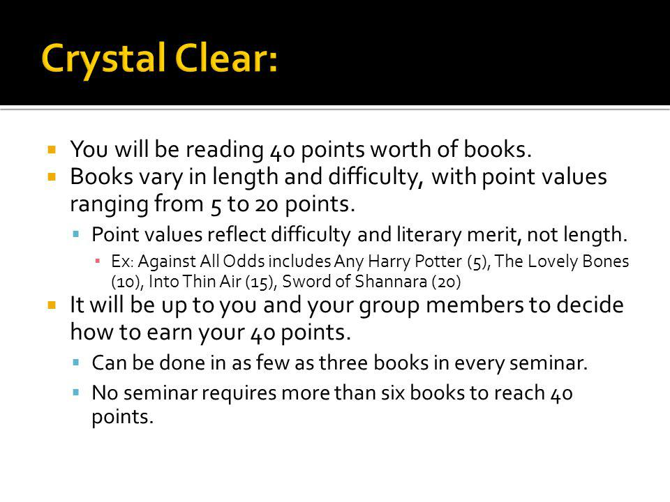 Every Monday you and your group will get together to discuss what you have read.