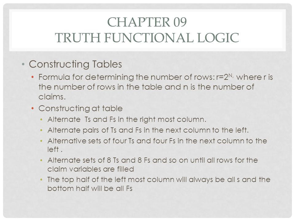 CHAPTER 09 TRUTH FUNCTIONAL LOGIC Constructing Tables Formula for determining the number of rows: r=2 N, where r is the number of rows in the table an