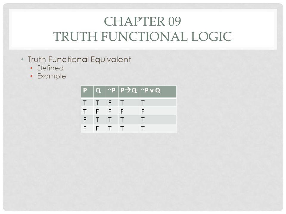 CHAPTER 09 TRUTH FUNCTIONAL LOGIC Truth Functional Equivalent Defined Example PQ~PP Q~P v Q TTFTT TFFFF FTTTT FFTTT