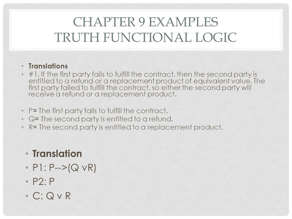 CHAPTER 9 EXAMPLES TRUTH FUNCTIONAL LOGIC Translations #1. If the first party fails to fulfill the contract, then the second party is entitled to a re