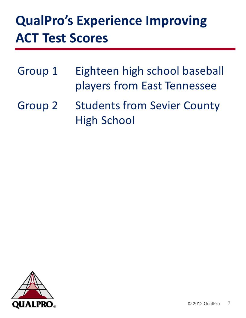 © 2012 QualPro QualPros Experience Improving ACT Test Scores 7 Group 1Eighteen high school baseball players from East Tennessee Group 2Students from Sevier County High School