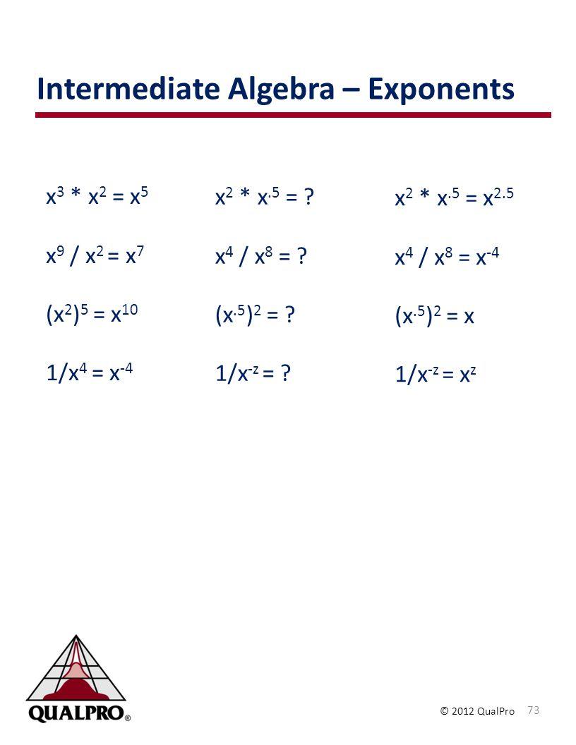 © 2012 QualPro x 3 * x 2 = x 5 x 9 / x 2 = x 7 (x 2 ) 5 = x 10 1/x 4 = x -4 x 2 * x.5 = .