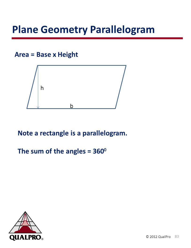 © 2012 QualPro Plane Geometry Parallelogram 83 Area = Base x Height h b Note a rectangle is a parallelogram. The sum of the angles = 360 0