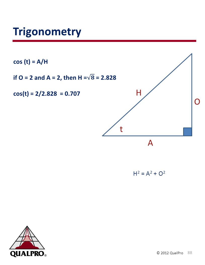 © 2012 QualPro Trigonometry 88 H 2 = A 2 + O 2 t A O H
