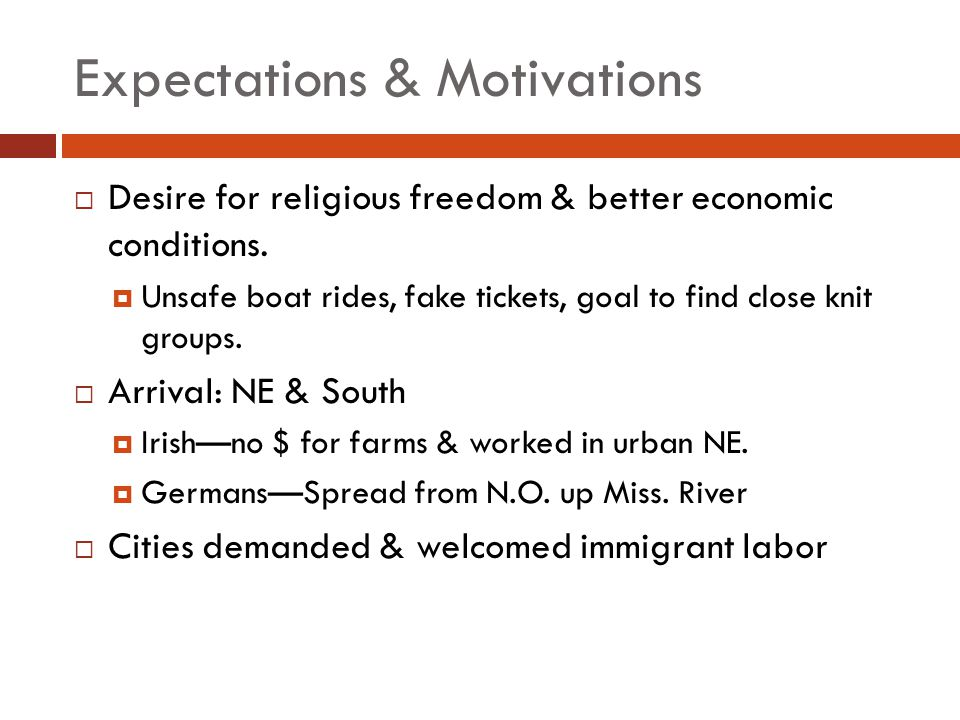 Expectations & Motivations Desire for religious freedom & better economic conditions. Unsafe boat rides, fake tickets, goal to find close knit groups.