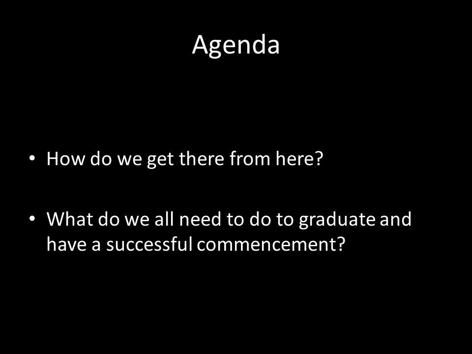 Agenda How do we get there from here? What do we all need to do to graduate and have a successful commencement?