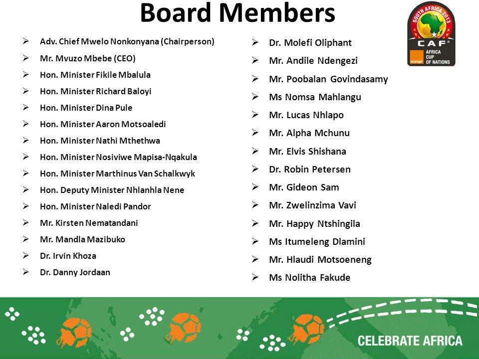 Board Members Adv. Chief Mwelo Nonkonyana (Chairperson) Mr. Mvuzo Mbebe (CEO) Hon. Minister Fikile Mbalula Hon. Minister Richard Baloyi Hon. Minister