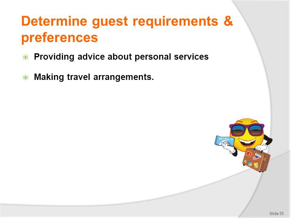 Determine guest requirements & preferences Providing advice about personal services Making travel arrangements. Slide 55