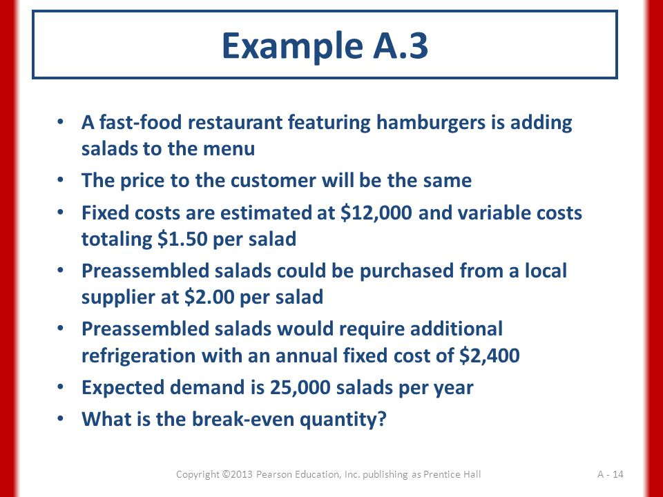 Example A.3 A fast-food restaurant featuring hamburgers is adding salads to the menu The price to the customer will be the same Fixed costs are estimated at $12,000 and variable costs totaling $1.50 per salad Preassembled salads could be purchased from a local supplier at $2.00 per salad Preassembled salads would require additional refrigeration with an annual fixed cost of $2,400 Expected demand is 25,000 salads per year What is the break-even quantity.
