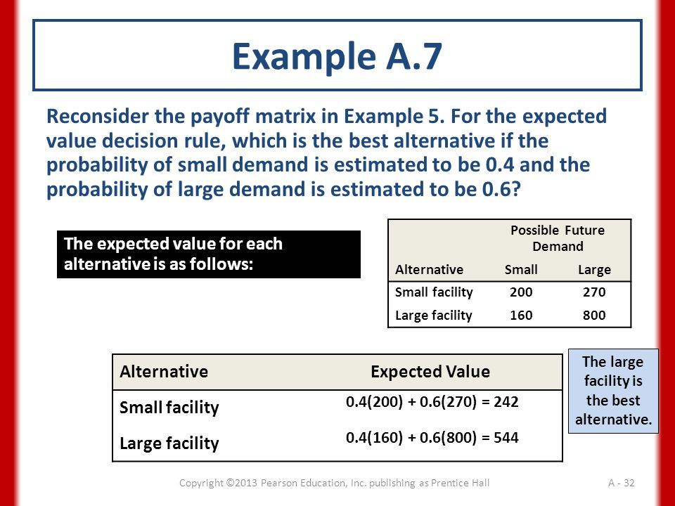 Example A.7 Reconsider the payoff matrix in Example 5.