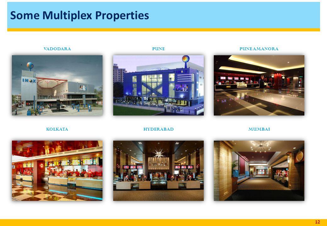 Some Multiplex Properties 12 VADODARAPUNEPUNE AMANORA KOLKATAHYDERABADMUMBAI