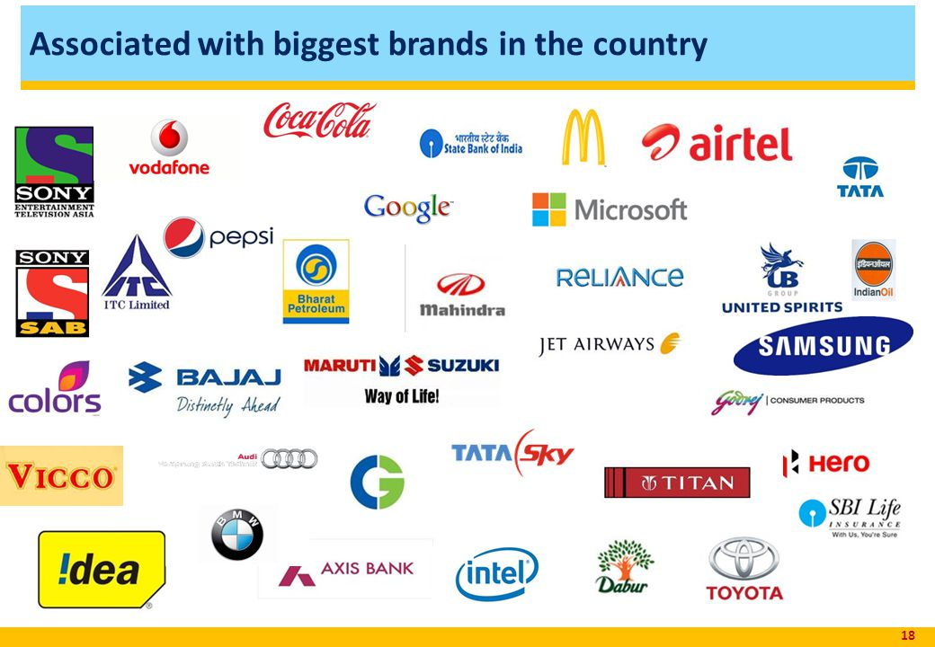 Associated with biggest brands in the country 18