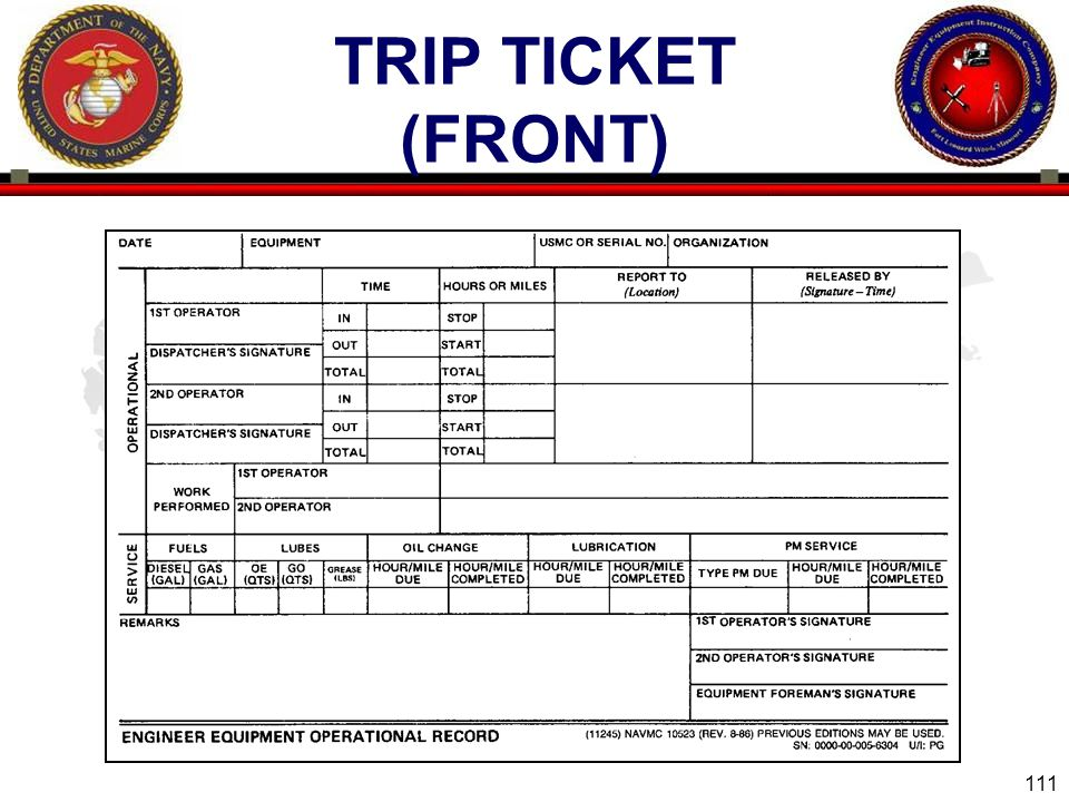 111 ENGINEER EQUIPMENT INSTRUCTION COMPANY TRIP TICKET (FRONT)