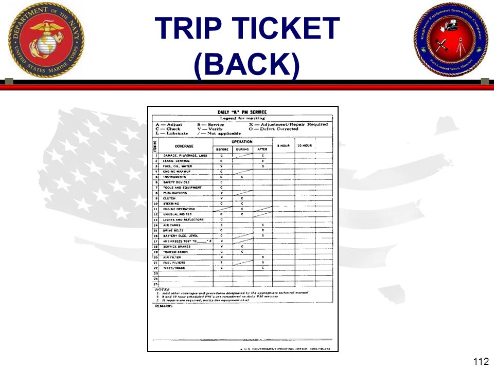 112 ENGINEER EQUIPMENT INSTRUCTION COMPANY TRIP TICKET (BACK)