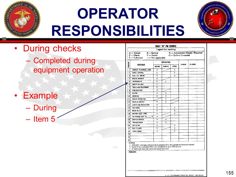 155 ENGINEER EQUIPMENT INSTRUCTION COMPANY OPERATOR RESPONSIBILITIES During checks –Completed during equipment operation Example –During –Item 5