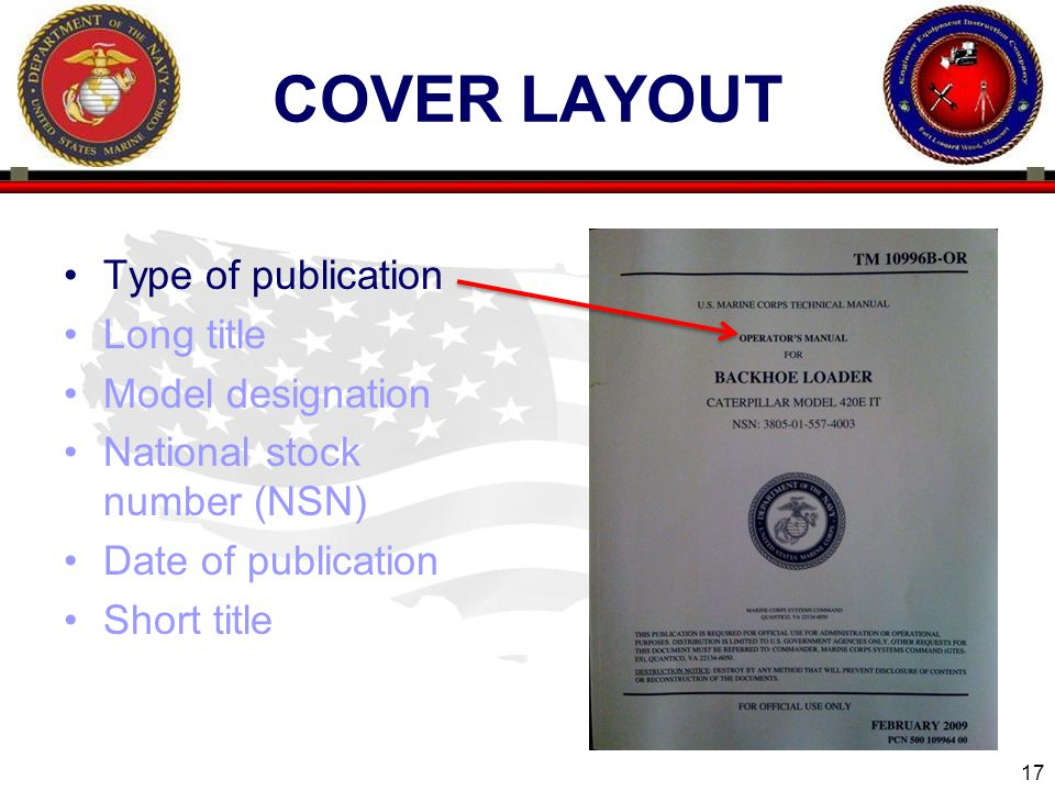 17 ENGINEER EQUIPMENT INSTRUCTION COMPANY COVER LAYOUT Type of publication Long title Model designation National stock number (NSN) Date of publication Short title