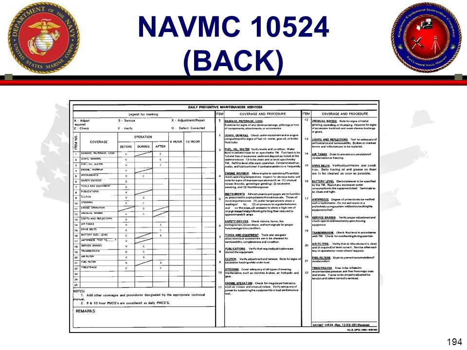 194 ENGINEER EQUIPMENT INSTRUCTION COMPANY NAVMC 10524 (BACK)