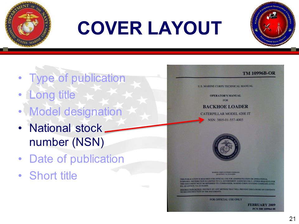 21 ENGINEER EQUIPMENT INSTRUCTION COMPANY COVER LAYOUT Type of publication Long title Model designation National stock number (NSN) Date of publication Short title