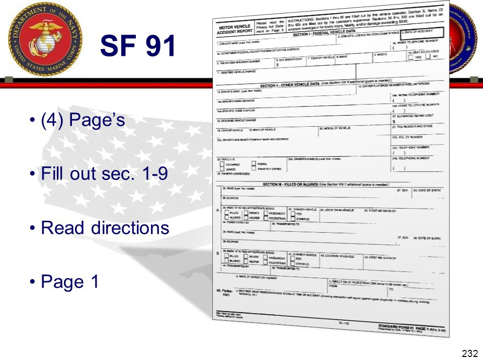 232 ENGINEER EQUIPMENT INSTRUCTION COMPANY SF 91 (4) Pages Fill out sec. 1-9 Read directions Page 1