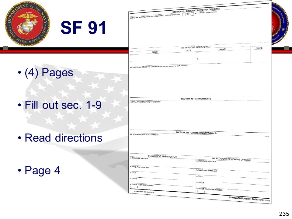 235 ENGINEER EQUIPMENT INSTRUCTION COMPANY SF 91 (4) Pages Fill out sec. 1-9 Read directions Page 4