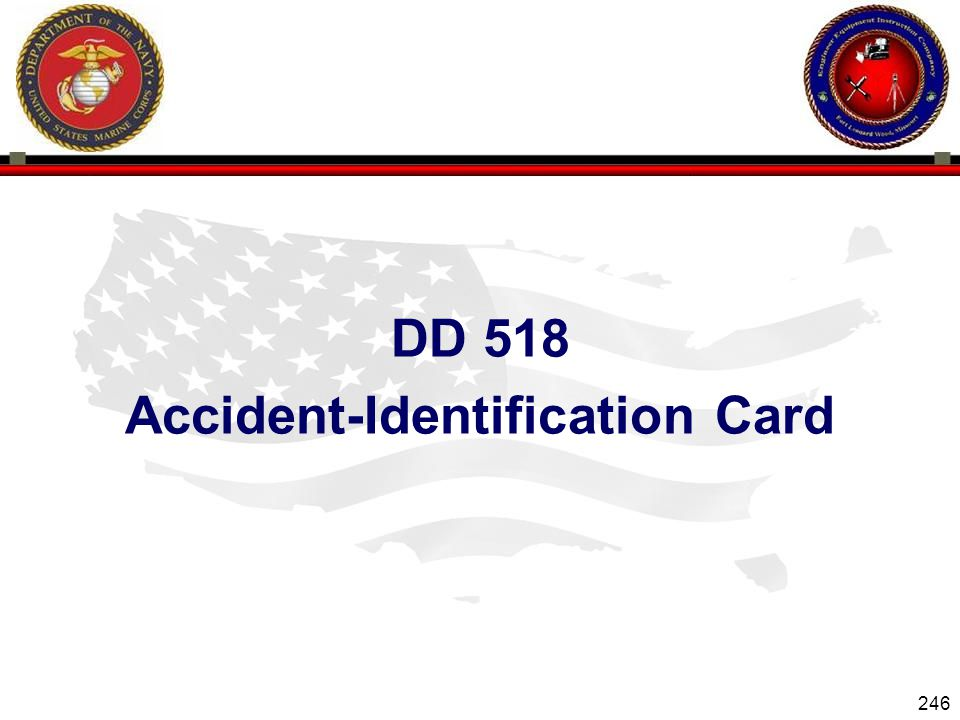 246 ENGINEER EQUIPMENT INSTRUCTION COMPANY DD 518 Accident-Identification Card