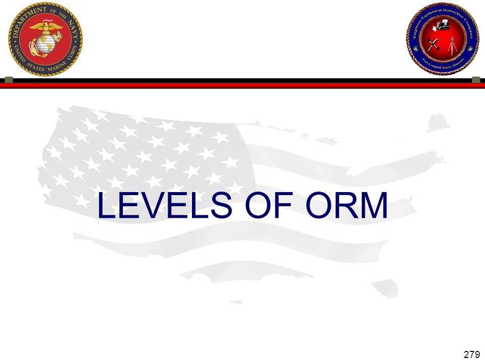 279 ENGINEER EQUIPMENT INSTRUCTION COMPANY LEVELS OF ORM Slide 279