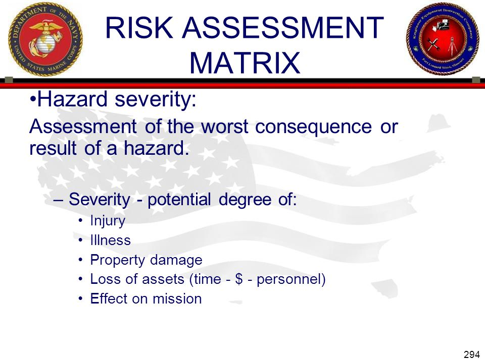 294 ENGINEER EQUIPMENT INSTRUCTION COMPANY RISK ASSESSMENT MATRIX Hazard severity: Assessment of the worst consequence or result of a hazard.