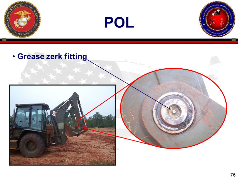 76 ENGINEER EQUIPMENT INSTRUCTION COMPANY POL Grease zerk fitting