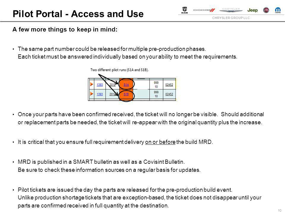 CHRYSLER GROUP LLC Pilot Portal - Access and Use 10 A few more things to keep in mind: The same part number could be released for multiple pre-product