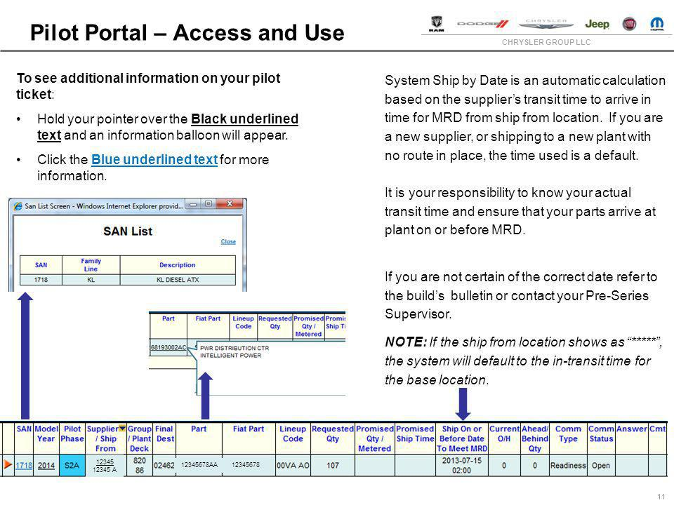 CHRYSLER GROUP LLC Pilot Portal – Access and Use 11 To see additional information on your pilot ticket: Hold your pointer over the Black underlined te