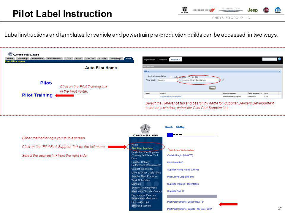 CHRYSLER GROUP LLC Pilot Label Instruction 27 Label instructions and templates for vehicle and powertrain pre-production builds can be accessed in two