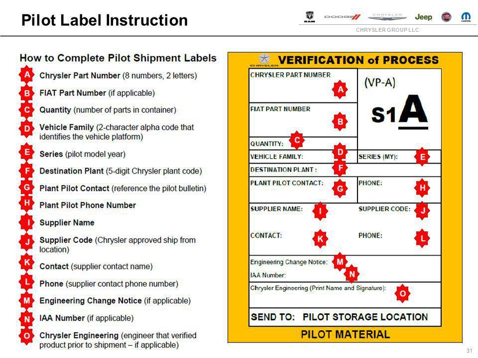 CHRYSLER GROUP LLC Pilot Label Instruction 31