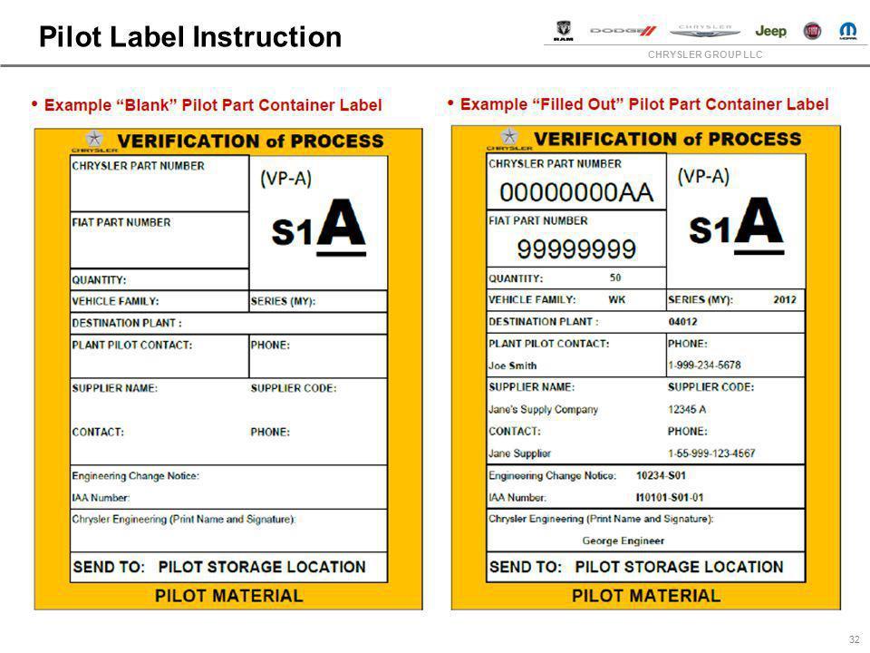 CHRYSLER GROUP LLC Pilot Label Instruction 32