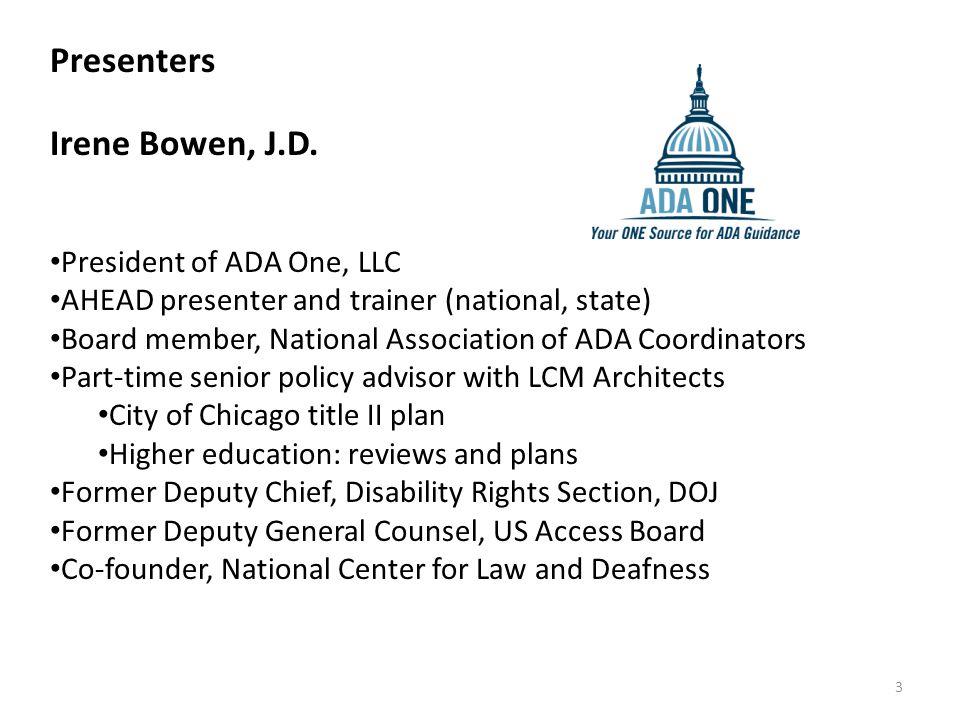 Presenters Irene Bowen, J.D.