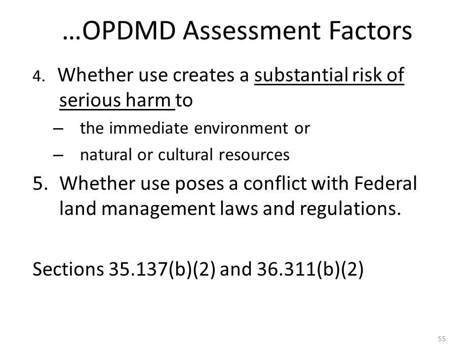 …OPDMD Assessment Factors 4.